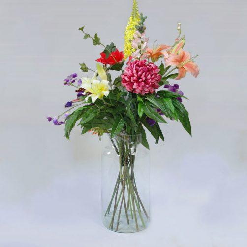 Luxe veldboeket diverse kunstbloemen